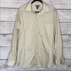 Croft & Borrow Large Tan Classic Fit Button Up